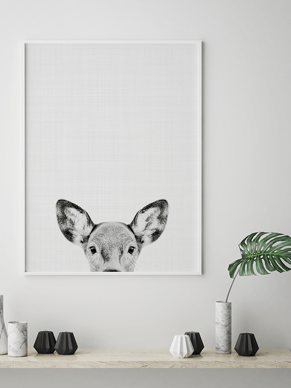 Doe Wall Art Print in Black and White - PRRRINT