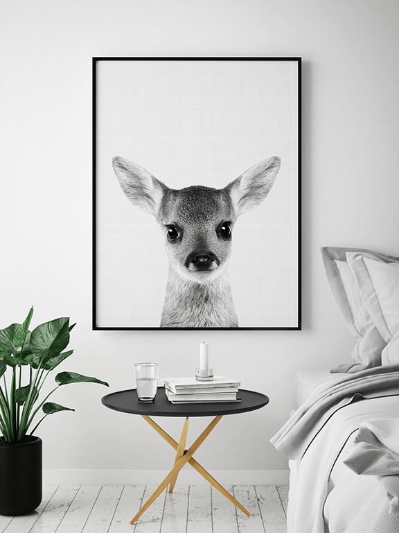 Fawn Photo Wall Art Print in Black and White - PRRRINT