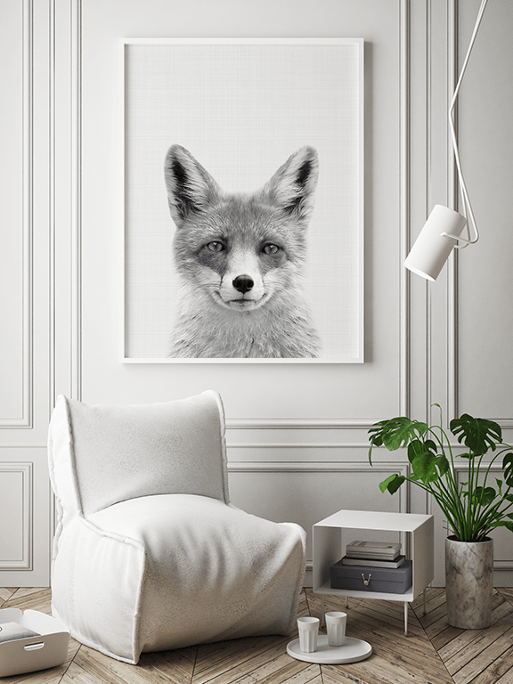 Fox Photo Art Print in Black and White - PRRRINT