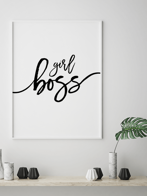 Girl Boss Quote Wall Art - PRRRINT