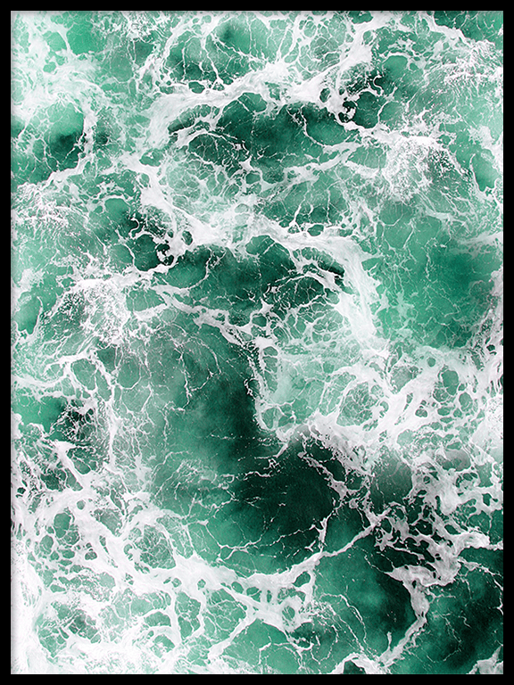 Green Wavy Ocean Wall Art Print - PRRRINT