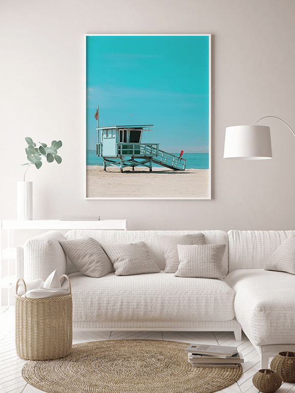 Lifeguard Tower in Beach Wall Art Print - PRRRINT