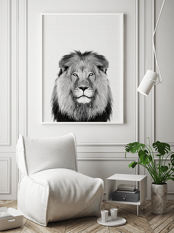 Lion Photo Wall Art in Black and White - PRRRINT