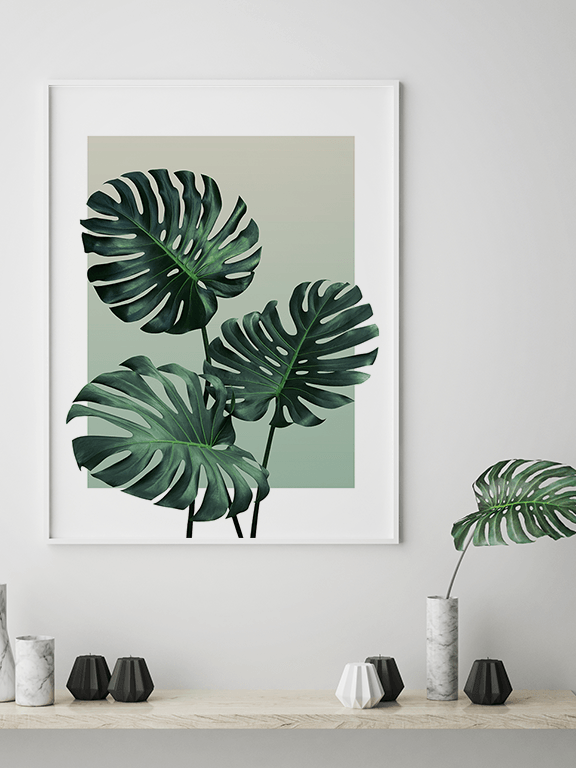 Olive Monstera Leaf No2 Wall Art Print - PRRRINT