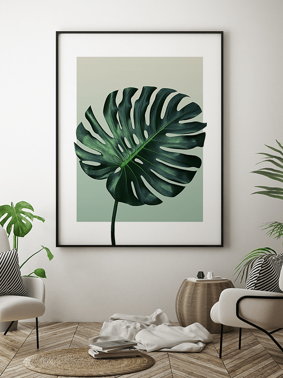 Olive Monstera Leaf No3 Wall Art Print - PRRRINT