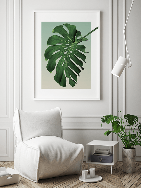 Olive Monstera Leaf No5 Wall Art Print - PRRRINT