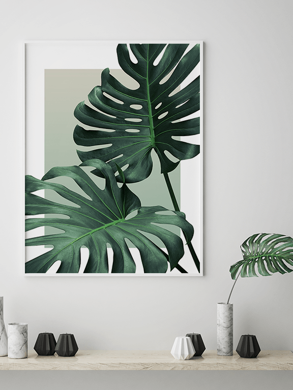 Olive Monstera Leaf Wall Art Print - PRRRINT