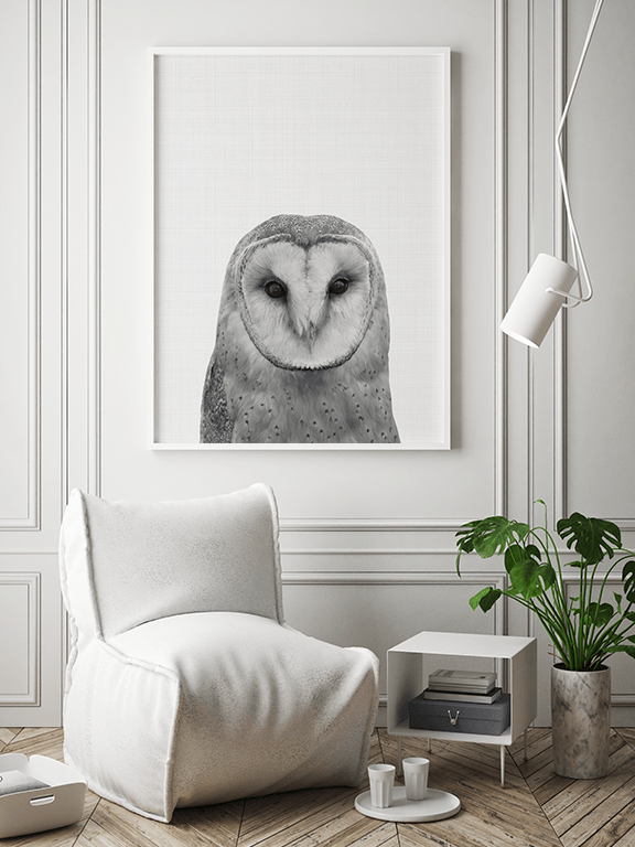 Owl No2 Wall Art Print in Black and White - PRRRINT