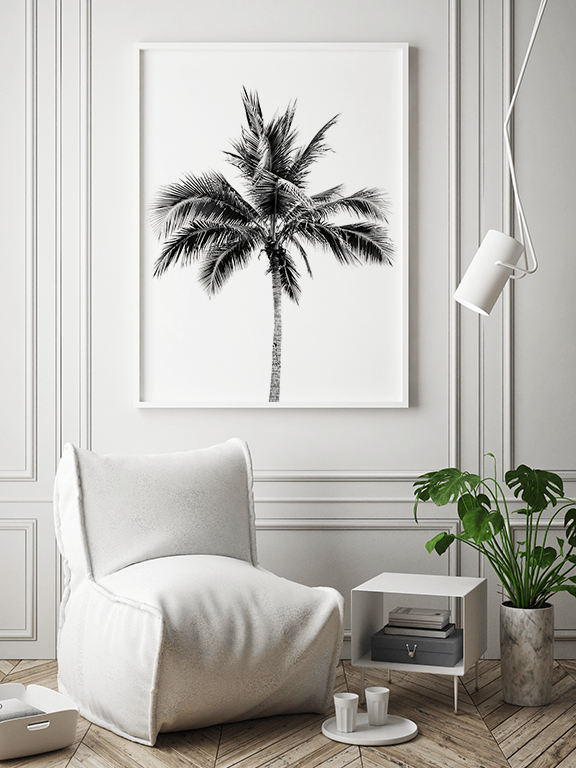Palm Tree No2 Wall Art Print in Black & White - PRRRINT