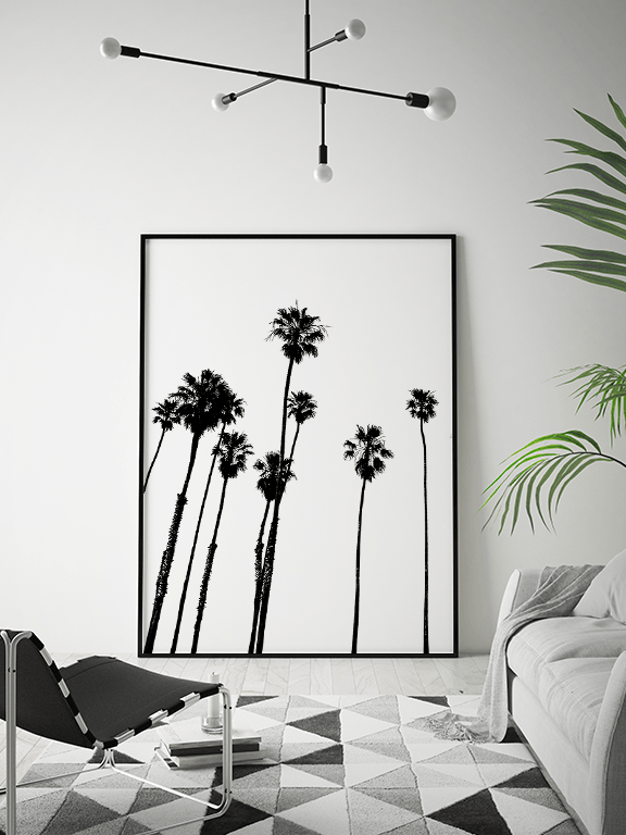 Palm Trees Wall Art Print in Black & White - PRRRINT