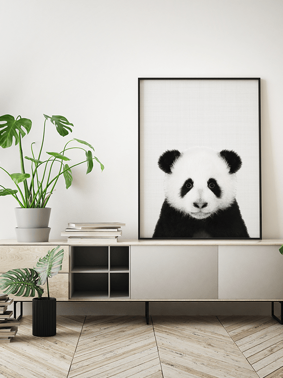 Panda Wall Art Print in Black and White - PRRRINT
