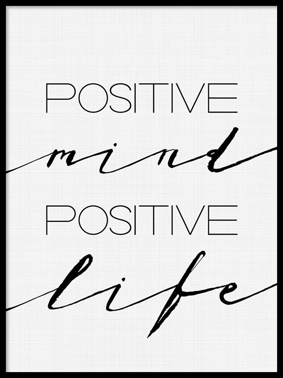 Positive Mind Positive Life Quote Wall Art Print - PRRRINT
