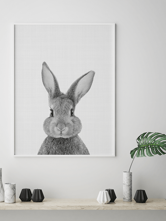 Rabbit (Bunny) Wall Art Print in Black & White - PRRRINT