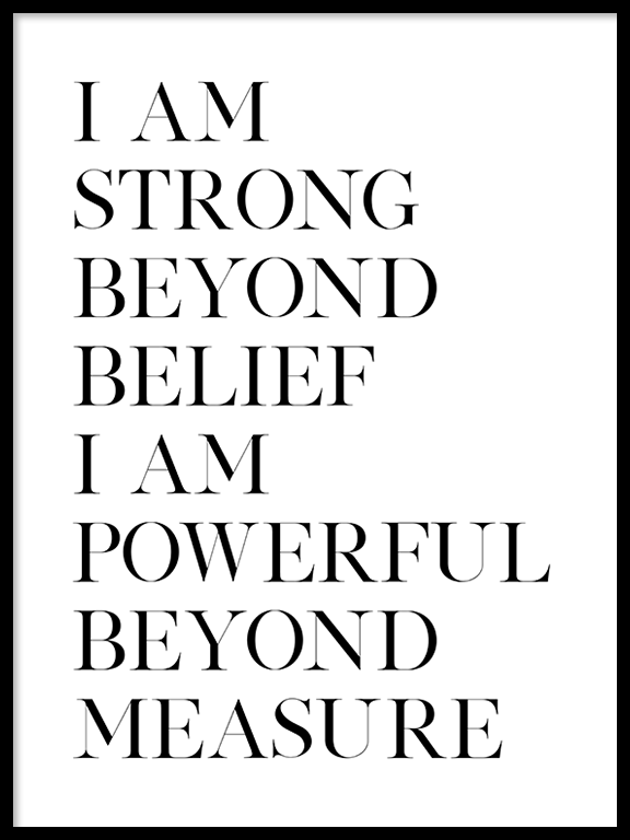 Strong and Powerful Quote Wall Art Print - PRRRINT