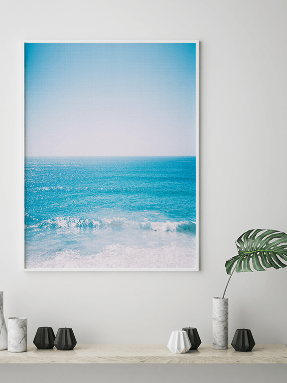Sunny Beach Waves Wall Art - PRRRINT