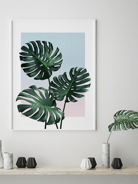 Sunset Monstera Leaf No2 Wall Art Print - PRRRINT