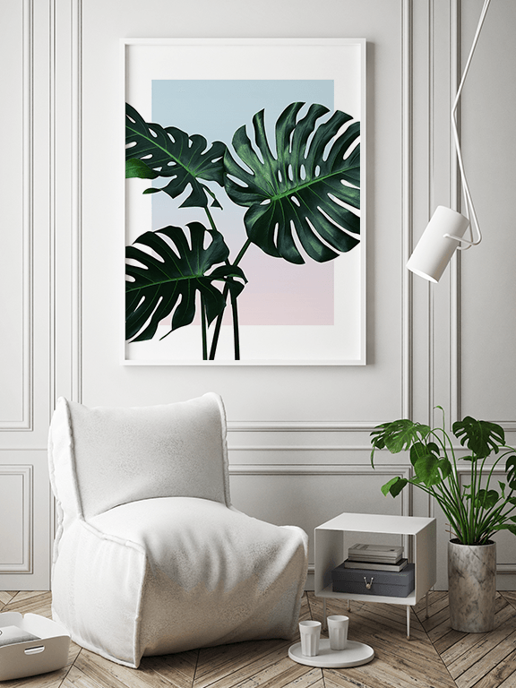 Sunset Monstera Leaf No4 Wall Art Print - PRRRINT