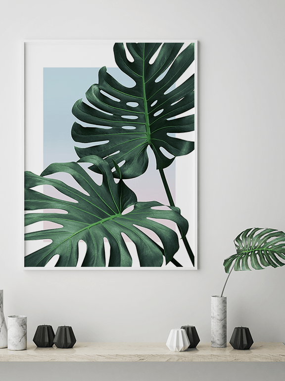 Sunset Monstera Leaf Wall Art Print - PRRRINT