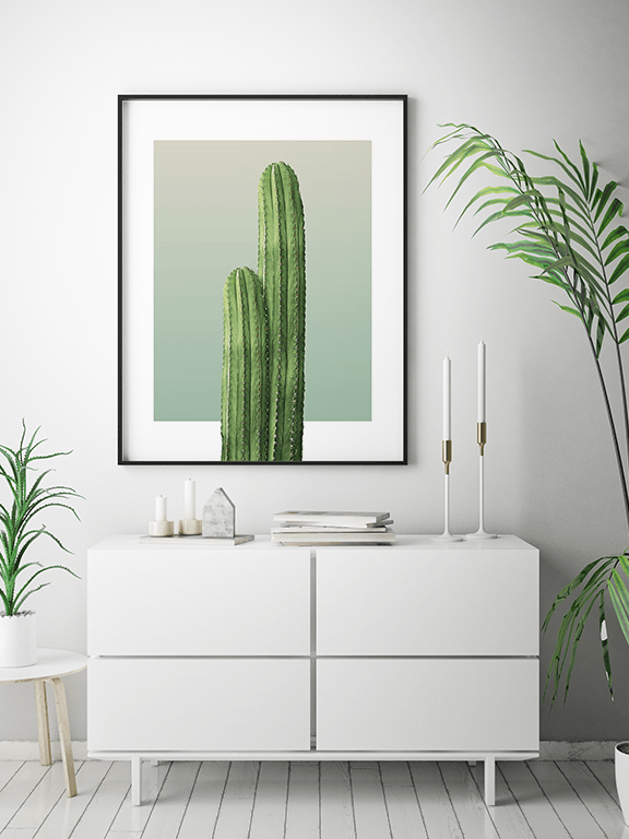 Two Cactuses in Olive Wall Art - PRRRINT