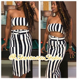 2 piece black and white stripe