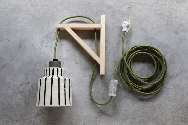 Pinstripe Wall Light - Forest Green Cord