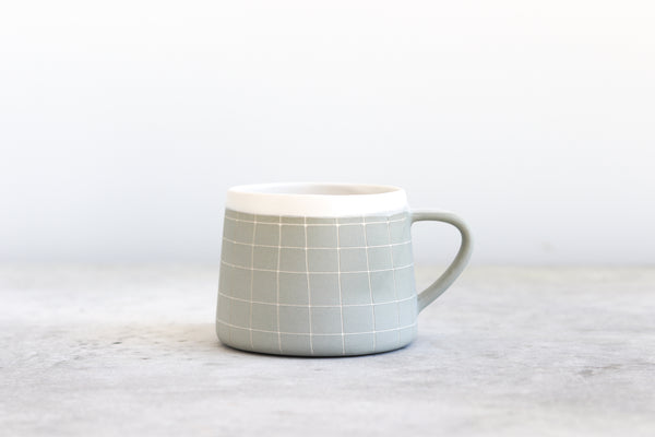 Grid Patterned Mug - Sage