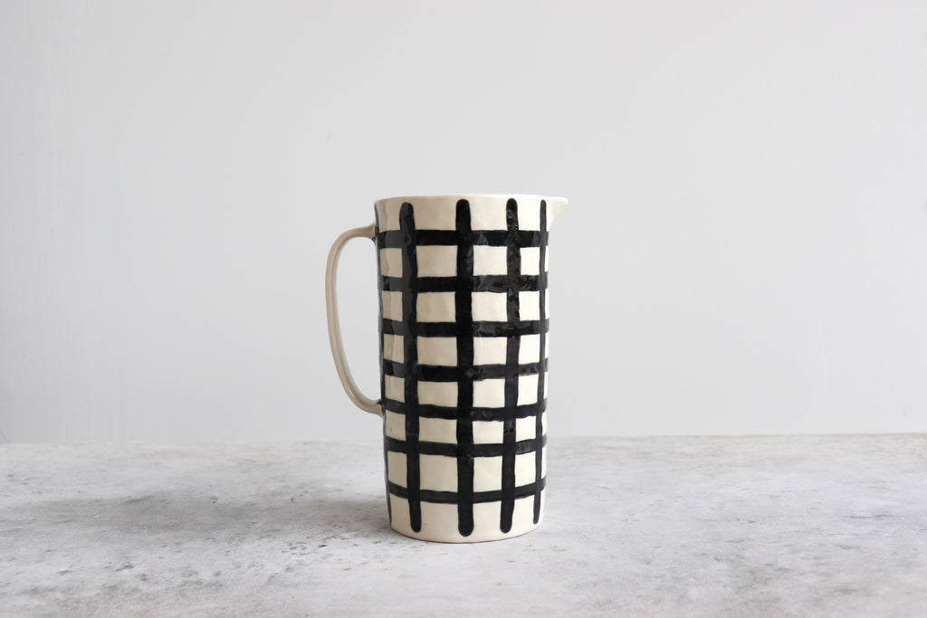 Plaid Pinched Pitcher