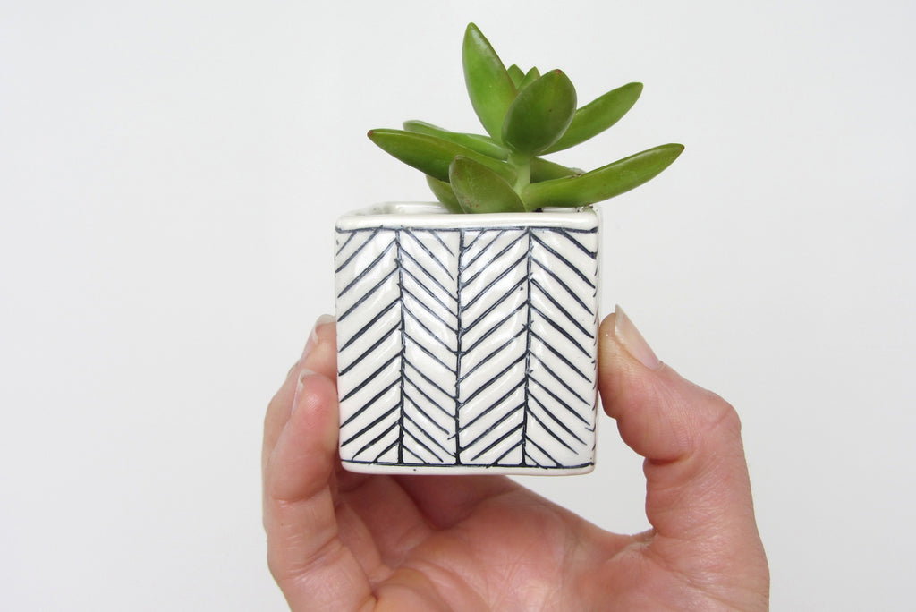 Herringbone Square Planter - White