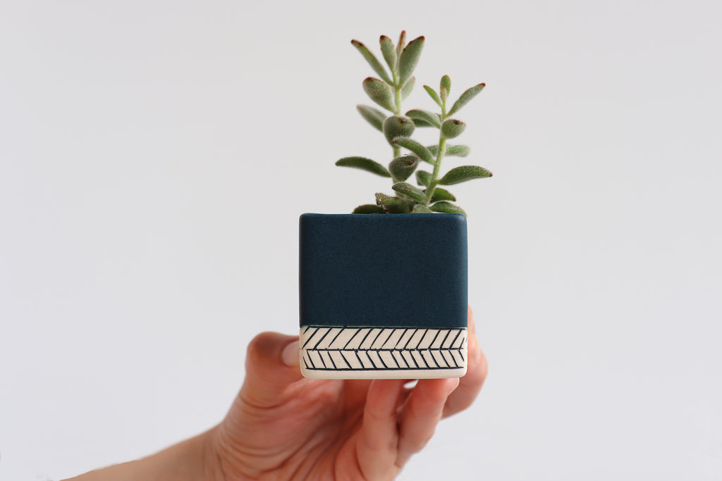 Herringbone Square Planter - Deep Ocean
