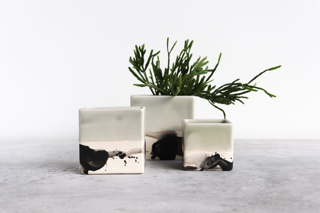 Square Splatter Planter - Seafoam