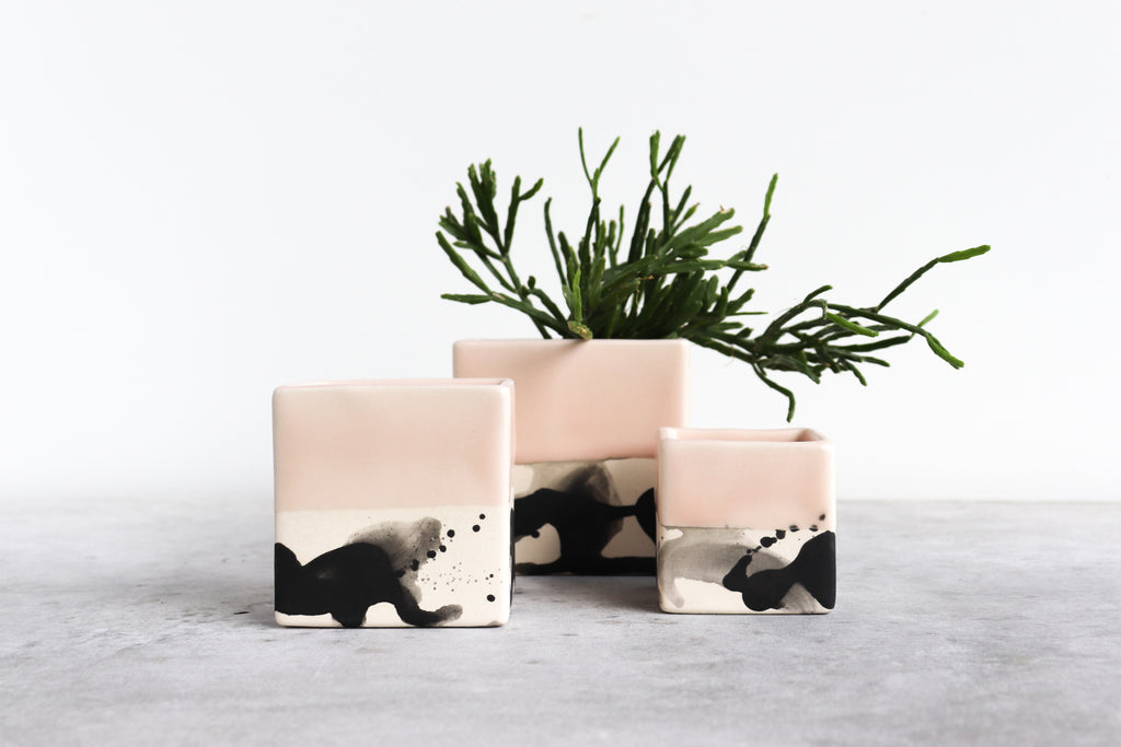 Square Splatter Planter - Summer Sweet