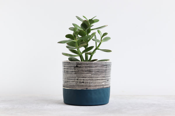 Round Pinched Planter with Stripes - Deep Ocean