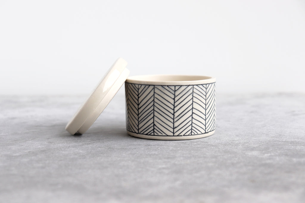 Herringbone Salt Cellar - White