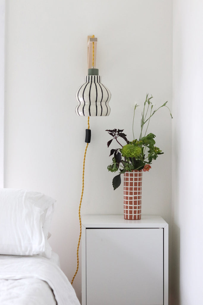 Tall Grid Vase - Rust