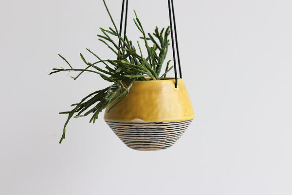 Pinched Hanging Planter with Stripes- Daybreak