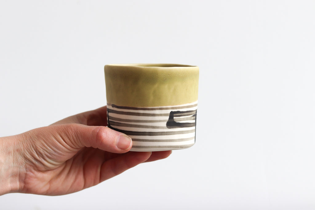 Striped Whiskey Cup - Olive Green