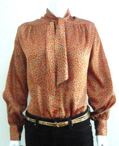 Rust Tie Neck Blouse
