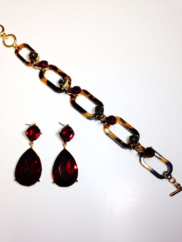 Vintage Inspired Tortoise Link Bracelet Set with Red Rhinestone Drop Earrings
