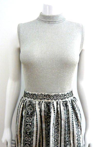 Silver Lurex Sleeveless Shell