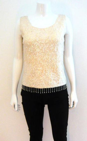 Ivory Cashmere Sequin Shell