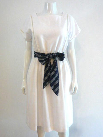 Nautical Belted White Dress