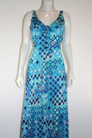 Sirena 60s Turquoise Geometric Print Swim Dress