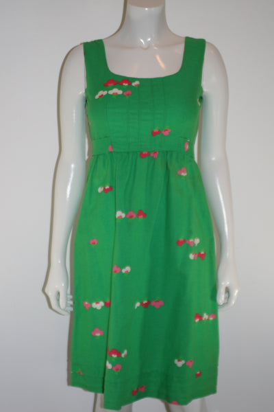 Malia Honolulu Green Floral Pintuck Dress