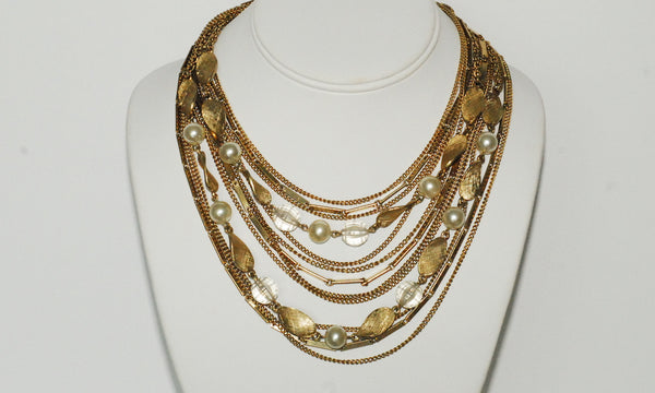 Pearl and Crystal Bead Multi-strand Collar
