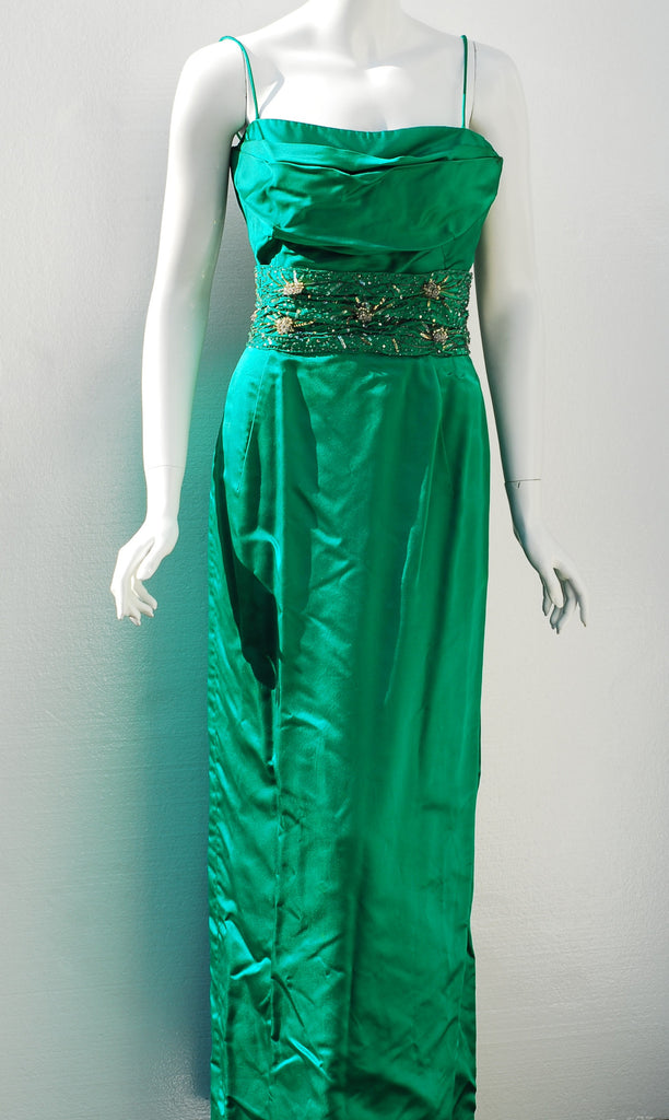 Rogue Vintage - Cameo New York Beaded Emerald Evening Gown