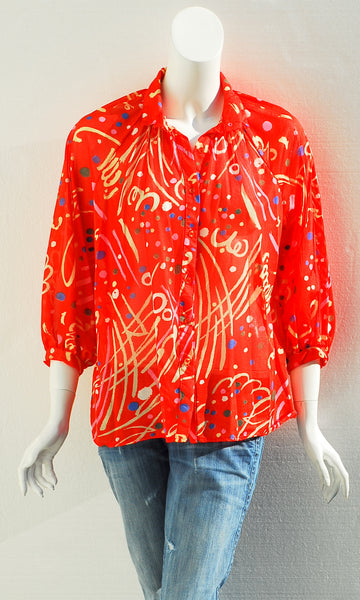 Rhoda Lee Red Print Blouse
