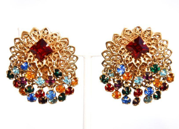 Multicolored Rhinestone and Gold Earrings