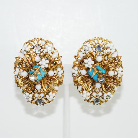 Gold Filigree Earrings with White and Turquoise