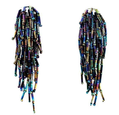 Black Iridescent Beaded Waterfall Earrings
