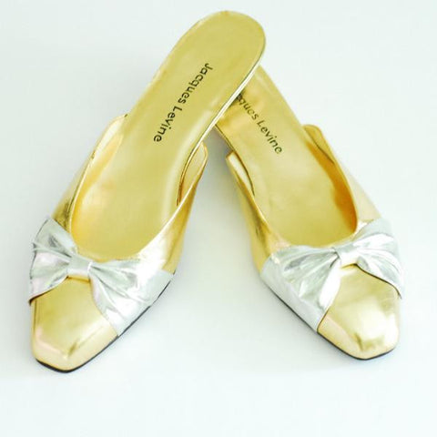 Jacques Levine Gold and Silver Mules